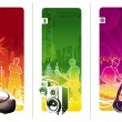 Three musical vector banners — Stock Vector