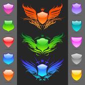 Conjunto de escudos heráldicos brillantes — Vector de stock