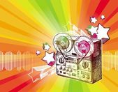 Reel recorder & retro stars — Stock Vector