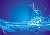Sfondo blu con le frecce e le onde — Vettoriale Stock