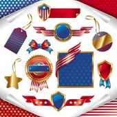 Vector set of usa signs & labels — Vettoriale Stock