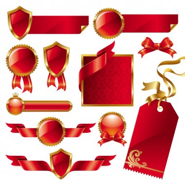 Set of golden-red signs and labels