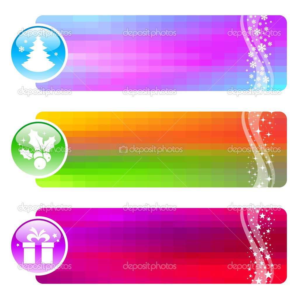 Three vector banners with Christmas symbols. — Stock Vector #1776203