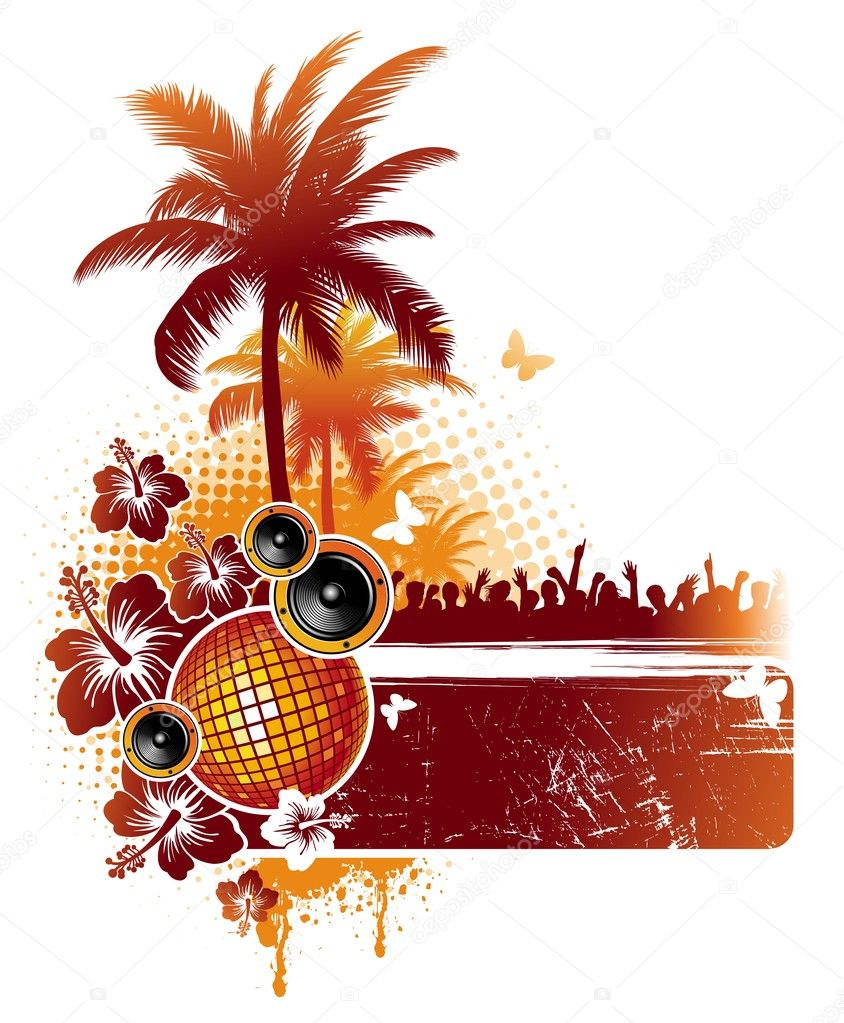 Tropical party - vector illustration with tropical flora and musical equipment. — Stock Vector #1776374