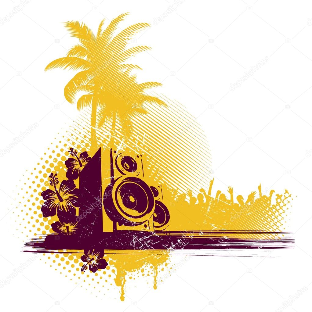 Vector illustration: Tropical party & loudspeakers. — ベクター素材ストック #1776393