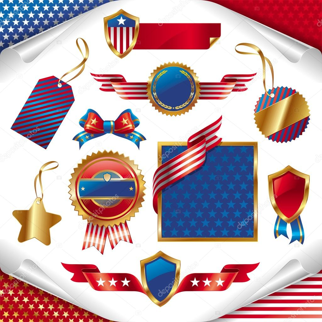 Vector set of usa patriotic signs, labels, tags  and emblem. — Stock Vector #1776488