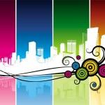 Cityscape & decorative elements — Stock Vector
