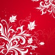 Floral red-white background - Stock Vector