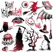 Vector de stock : Halloween & horror hand drawn set