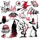 Halloween & horror hand drawn set — Stok Vektör