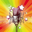 Hand drawn microphone and stars — Stock Vector