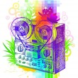 Stock Vector: Hand drawn tape recorder