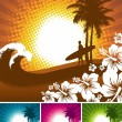 Tropical nature & surfer silhouette — Stock Vector