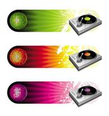 Banners with turntable & mirror ball — Stock vektor