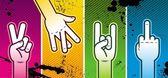 Quatro sinais de mão — Vetorial Stock