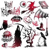 Halloween & horror hand drawn set — Vetor de Stock