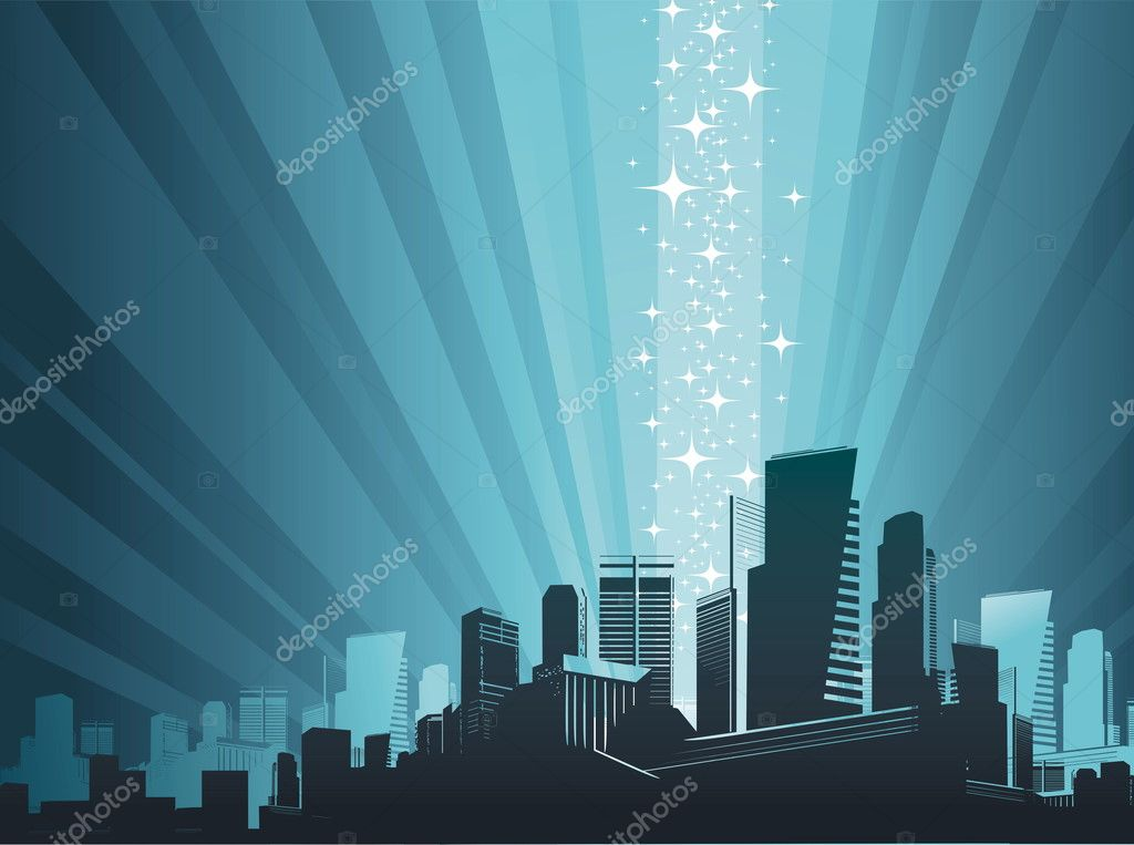 Vector cityscape & magic phenomenon. — Stock Vector #1792510