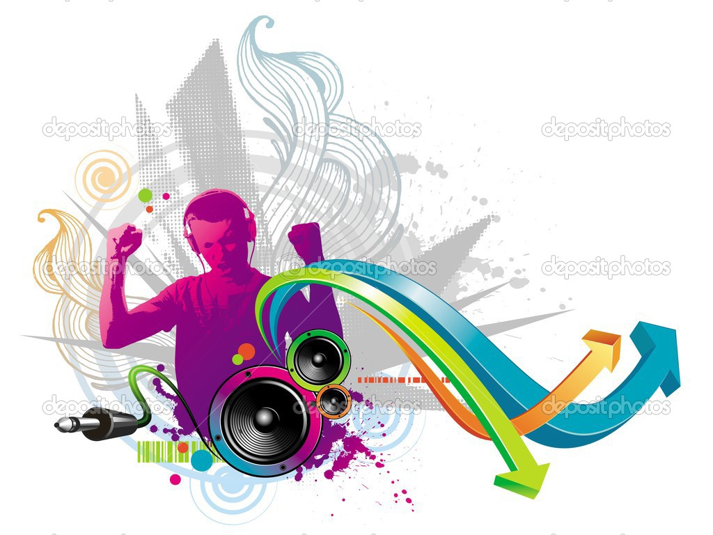 Vector illustration: abstract musical design with young man listening to music. — Stock Vector #1793901
