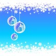 Blue winter background with Christmas baubles — Imagen vectorial