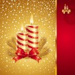 Christmas greeting card with holidays candles — 图库矢量图片