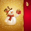 Christmas greeting card with smiling snowman - Stock Vector