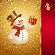 Christmas greeting card with smiling snowman — Stock Vector