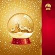 Christmas greeting card with snow globe — Stock Vector