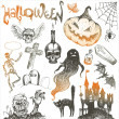 Halloween and horror hand drawn set — Vector de stock
