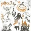 Stock Vector: Halloween and horror hand drawn set