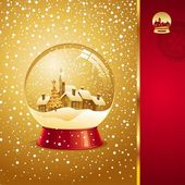 Christmas greeting card with snow globe — Stockvektor