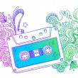Audio cassette with line art decor — Image vectorielle