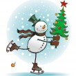 Snowman with christmas tree — Vector de stock