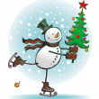Snowman with christmas tree — Stock vektor