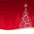 Red background with christmas tree — Stockvectorbeeld