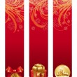 Red christmas banners with holiday symbols — Imagen vectorial