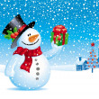 Christmas vector illustration - Snowman with gift for you — Stok Vektör