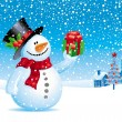 Christmas vector illustration - Snowman with gift for you — Stockvectorbeeld