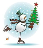 Snowman with christmas tree — Stock Vector