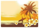 Surfer and tropical landscape — Stock Vector