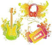 Musical equipments with doodle decor — Stock Vector