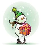 Hand drawn snowman with gift — Stock Vector