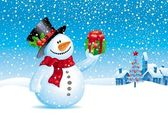 Christmas vector illustration - Snowman with gift for you — Stock Vector