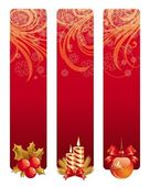 Three red Christmas banners with holiday symbols — Vector de stock