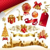 Vector Christmas symbols and objects — Stock Vector
