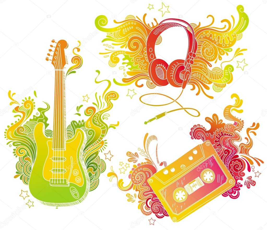 Musical equipments with doodle decor — Stock Vector #1854983