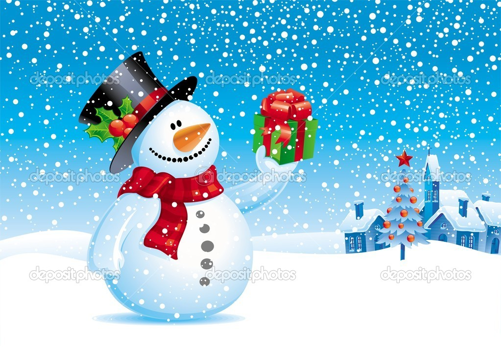 Christmas vector illustration snowman with gift for you stock