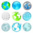 Globe and Earth vector set — Stock vektor