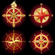 Four different golden compass rose - Stock Vector