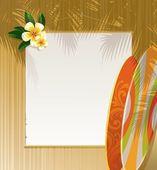 Flowers, surfboards & banner — Stock Vector