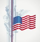 USA flag and attribute of american life — Stock Vector